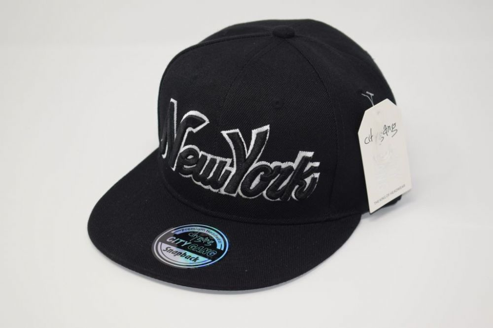 C4874- 'New York' Black Snapback Cap one size fits all adjustable 20% cotton, 80% polyster